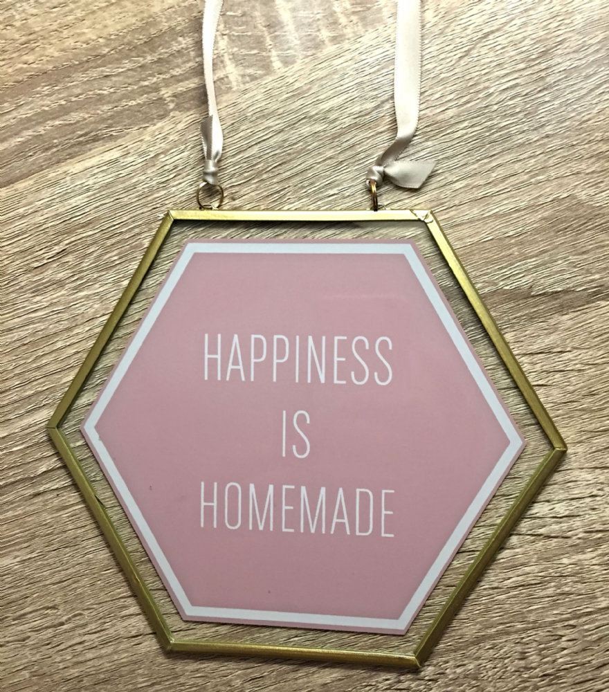 Geo Glass & Metal Gold Hanging Wall Plaque ~ HAPPINESS IS HOMEMADE